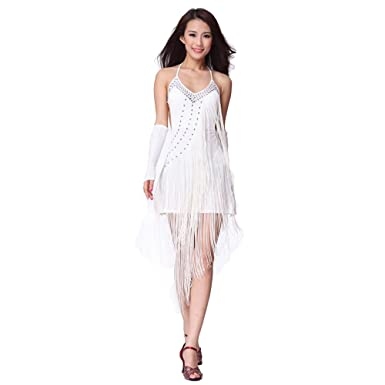 Womens Latin Dance Sling Large Diamond Dress Ballroom Skirt Standard Prom Wear white