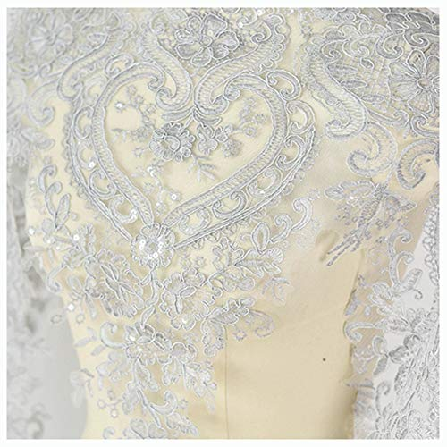 (Tong Gu Floral Lace Material Sequin Embroidery for Bridal Veil Dress Trim Edge by Yard (Light Gray))