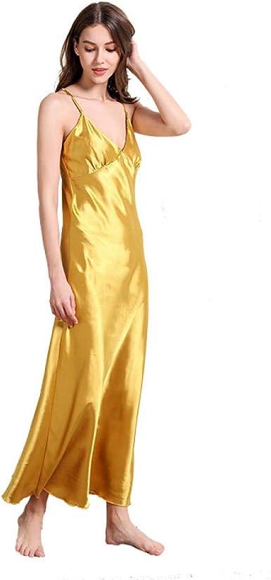Vestido de Mujer Sexy con camisón de Seda, Vestido de Tirantes de ...