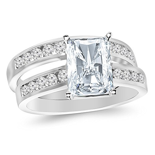 2.7 Ctw 14K White Gold GIA Certified Radiant Cut Classic Channel Set Wedding Set Bridal Band & Diamond Engagement Ring, 2 Ct D-E VS1-VS2 Center ()
