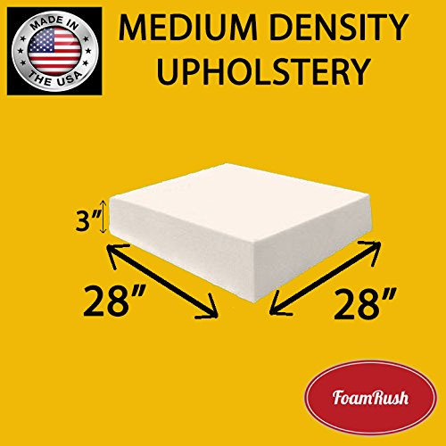 FoamRush Upholstery Foam Medium Density Firm Foam Soft Support (Chair Cushion Square Foam for Dinning Chairs, Wheelchair Seat Cushion Replacement)(3