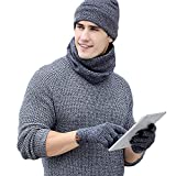 Exlura 3-Pieces Winter Beanie Hat Scarf Touch Screen Gloves Cap Set Unisex for Men Women