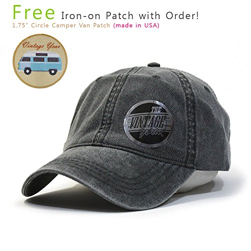 Twill Baseball Cap Hat (Plain Washed Dyed Cotton Twill Low Profile Adjustable Baseball Cap (Charcoal)