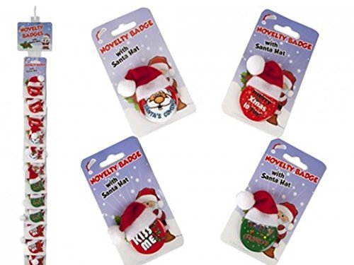 2 x Novelty Christmas Badge With Santa Hat - Assorted Designs Sent At Random by PMS