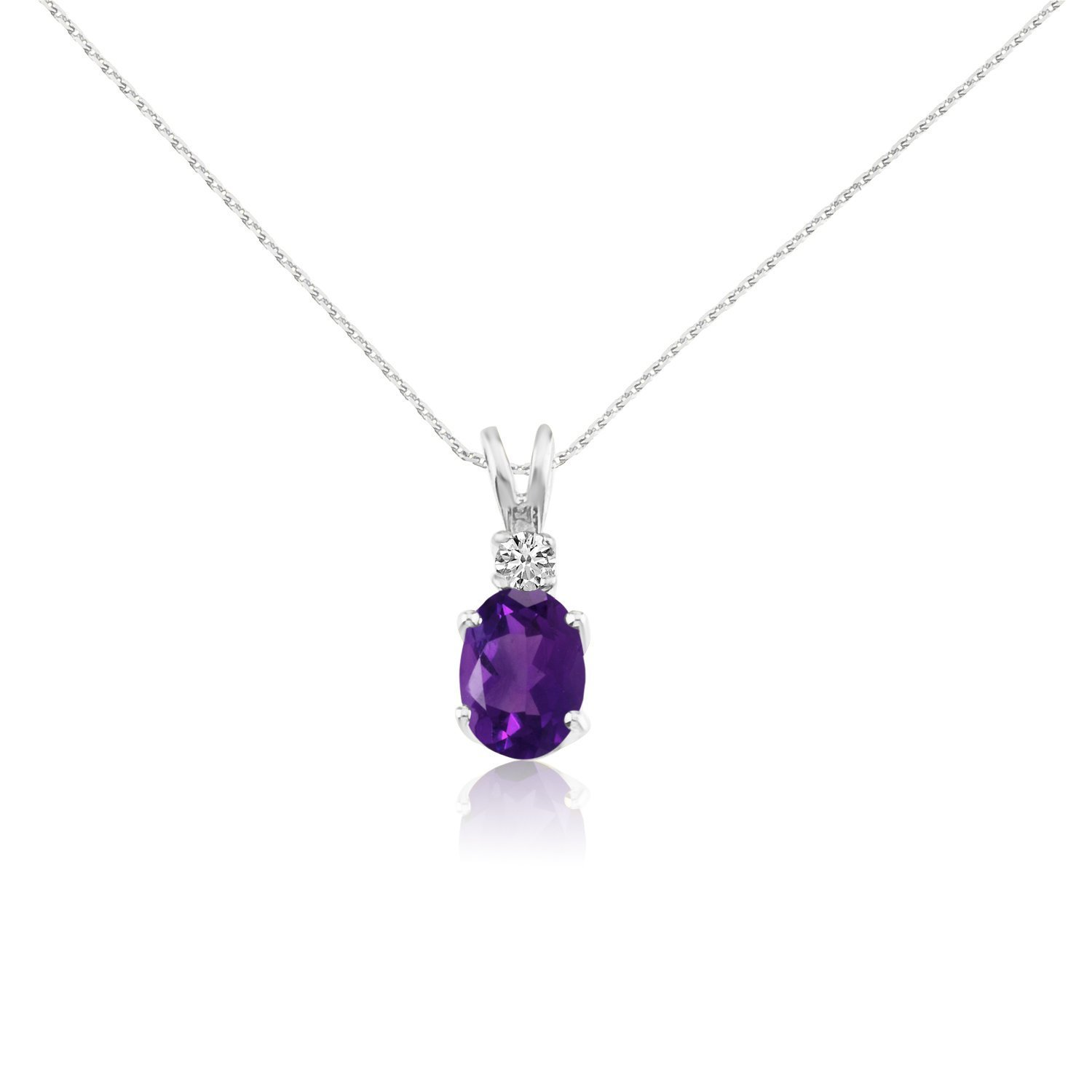 1.9 Cttw. FB Jewels Solid 14k White Oval Gemstone and Diamond Pendant