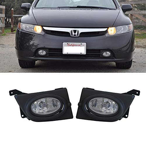 VIOJI New 1 Pair For Honda 2006-2008 Civic Clear Lens Front Bumper Driving Lamp Fog Lights w/ H11 Bulbs+Switch+Relay+Wire+Hardware
