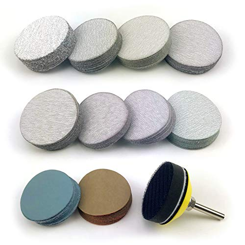 2 Inch Assorted Grits White Dry & Waterproof(wet/dry) Hook & Loop Sanding Discs with 1/4 inch Shank Sanding Pad + Soft Foam-Backed Interface Buffer Pad, Total 100 Discs - Buffer Pad Disc