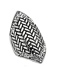 Women's Stainless Steel Clear Crystal Marquise Shape Dome Ring, Size 8