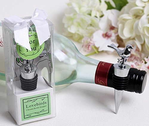 60pcs Lovebirds Chrome Wine Bottle Stopper in Box For Wedding Favor by cute rabbit