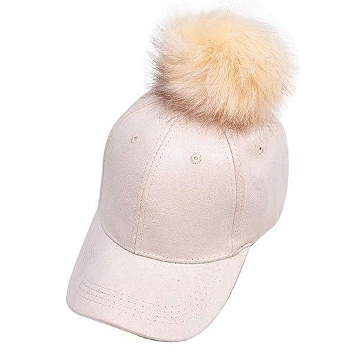 145a3b25cde98c GLOGLOW Women Corduroy Baseball Cap Solid Color Pompom Hat Warm Winter  Autumn Visor Cap(Beige