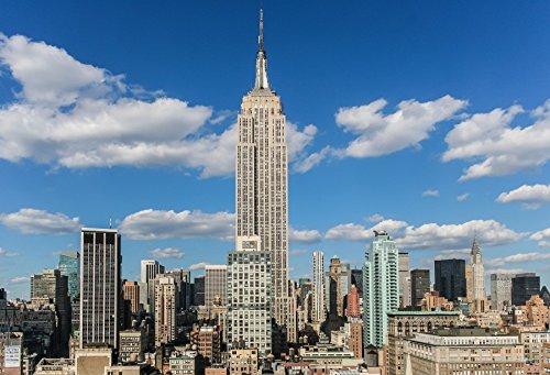 Panorama Landscape (Laeacco 10x6.5ft Empire State Building New York USA Skyline Backdrop kyscraper Blue Sky White Clouds Landscape Backgroud Downtown Mall Landmark Panorama Modern City Center Photo Potraits Backdrop)