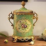 LXYFMS European and American Antique Home Furnishings Decorative Ceramic Ornaments Ceramic Flower Storage Tank Crafts