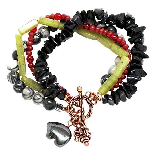 Boho Cuff Bracelet Four Strands Copper Black Agate Serpentine Hematite Bear (Strand Onyx Bead Toggle Bracelet)
