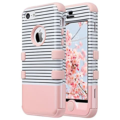 iPhone 5C Case,5C Case,ULAK 3 in 1 PC + Silicone Hybrid Dust Scratch Resistance Anti-slip Protective Cover for Apple iPhone 5C-Minimal Rose (Pink Iphone 5c Phone Case)