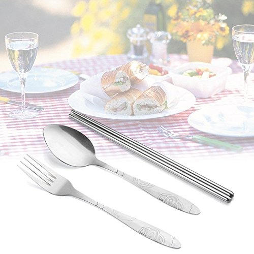 ningbao951 Portable 3Pcs Stainless Steel Cutlery Set Flower Painting Chopsticks Spoon Fork Dinner Tableware Set Tableware Case Kit
