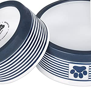 "Bone Dry DII Paw Patch & Stripes Ceramic Pet Bowl for Food & Water with Non-Skid Silicone Rim for Dogs and Cats (Medium - 6"" Dia x 2"" H) Nautical Blue - Set of 2"