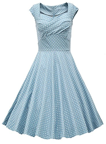 SiYuan Womens Retro Rockabilly Swing Dresses Cute Candy Color Dot Party Dress US XS/Asian S Light Blue 1133