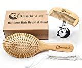 Wooden Hair Brush – Organic Bamboo Hair Brush And Comb Set For Women And Men - For All Hair Types - Scalp Massage For Healthy Hair - Eco-Friendly - Biodegradable – BPA Free – By Panda Stuff
