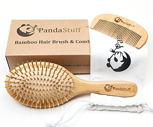 Natural Wooden Paddle Hair Brush – Organic Bamboo Bristles Pins Hairbrush And Comb Travel Set For Women, Men And Kids - For Thin, Thick, Long, Short, Curly Hairs - Scalp Massager, Eco-Friendly, Biodegradable, BPA Free – By Panda Stuff ()