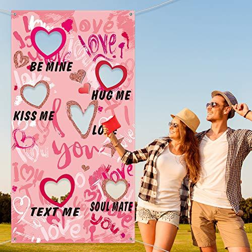 Valentine S Day Bean Bag Toss Game Heart Print Banner