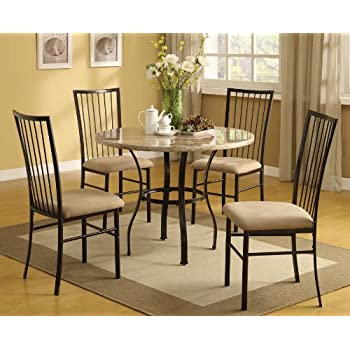 Amazoncom Hops 5pc Round Dining Table and Chair Set Table