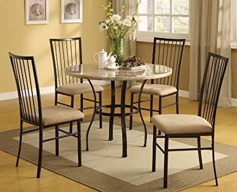 Amazoncom Acme 70295 5Piece Darell Faux Marble Top Dining Set