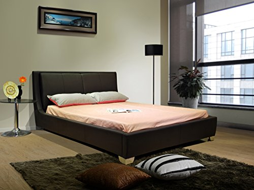 (Greatime B1088 Platform Bed with Padded Headboard and Euro Slats, Eastern King, Black)