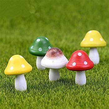 Danmu 5pcs Wooden Mini Mushrooms Miniature House Fairy Garden Micro  Landscape Home Garden Decoration Plant Pots