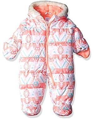 Baby Girls' Printed Foil Pram with Faux Fur Hood