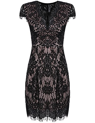 Romwe Women's Gorgeous V Neck A Line Sexy Short Cap Sleeve Lace Dress Black M