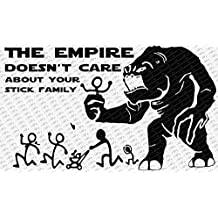 "The Empire Doesn't Care About Your Stick Figure Family Star Wars Rancor Black Vinyl Car Decal Sticker (11"" Inch, Black)"