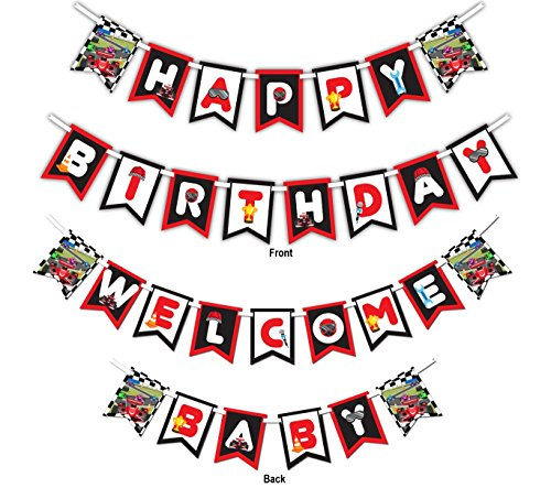 Race Car Racing Multi-Use Happy Birthday or Welcome Baby Shower Party Banner Decoration (23ft Ribbon) for $<!--$9.99-->