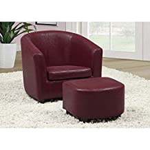 Monarch Specialties 8105 Accent Chair & Ottoman In Red Leather