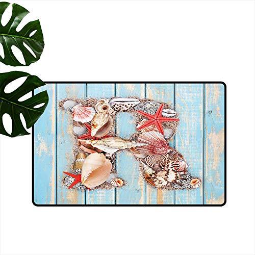 "Price comparison product image Anzhutwelve Letter RPersonalized Door mats Tropical Animals in Alphabet Art Ocean Letter R Seashells Starfish Front Door Rugs W 20"" x L 31"""