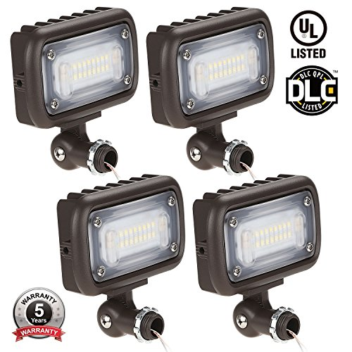15W Outdoor LED Flood Light, 100W MH Equivalent, 1/2'' Adjustable Knuckle Mount, 1600lm, 5000K Daylight, 120-277V, Waterproof Security Landscape Lighting, UL-listed, 5 YEAR WARRANTY, Pack of 4 by LEONLITE