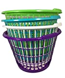 Set of 4 Assorted Colors Leightweight Plastic One Bushel Capacity Laundry Baskets