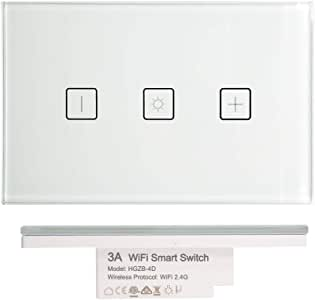 3A WiFi Smart Light Switch, Dimmer, Fan Light Switch Power Point GPO Socket IR Controller for TV AirCon Desk Lamp RGBW Downlight (1 Gang Dimmer)