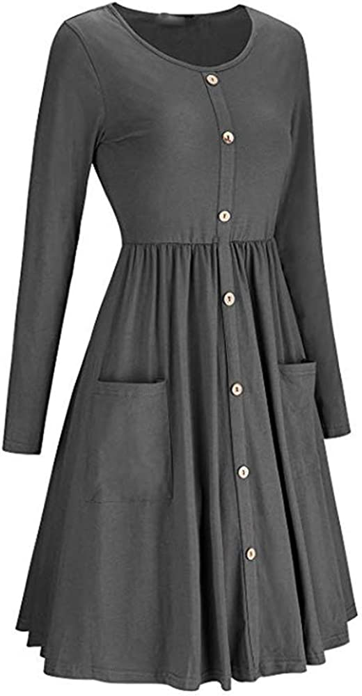 Womens Long Sleeve Pleated Loose Swing Casual Dress with Pockets Knee Length Grey M