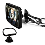 Baby Backseat Mirror For Car, Elecwave Largest, Safest and Most Stable Rear View Baby Car Seat Mirror - Fully Assembled, Adjustable and Wide Convex Shatterproof Glass Plus Free Small Mirror