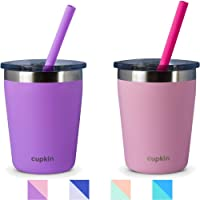 Stackable Stainless Steel Toddler Cups for Kids by CUPKIN - Set of 2 Powder Coated...