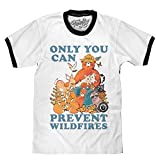 Tee Luv Smokey Bear T-Shirt - Only You Can Prevent Wild Fires Ringer Shirt (MD)