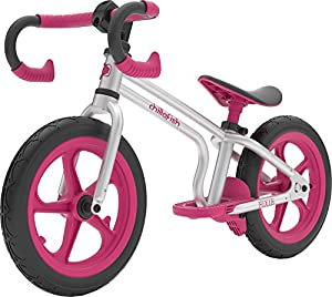 Chillafish Fixie 12-inch Racing-Style Balance Bike, with Footbrake and Puncture-Proof RubberSkin Tires, Adjustable Seat and Dropbar, for Kids 2-5 Years, Pink