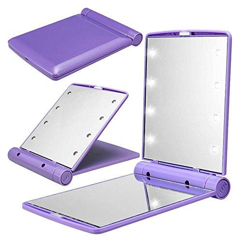 Mmrm Women 12V Battery Powered 8 LED Foldable Lighted Makeup Mirror (Purple)