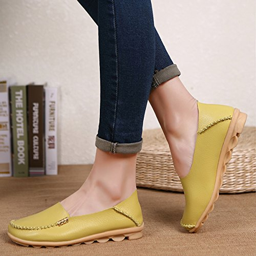 Loafers Grass Slip on Indoor IRuis Flats Women's Moccasin Shoes Casual Green Leather Genuine Driving zv78nvqtx