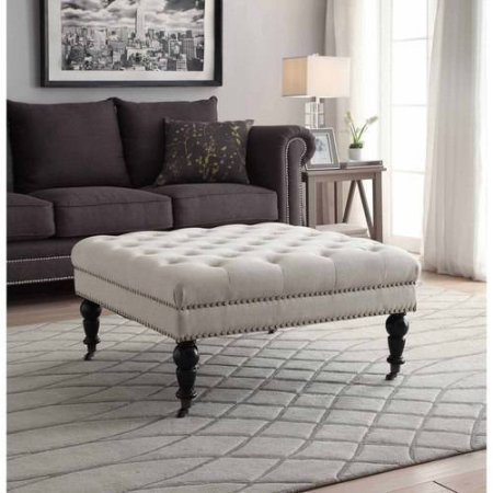 Linon Isabelle Square Tufted Ottoman White by Linon*