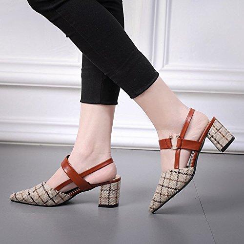 GAOLIM La Chica En El Verano Sandalias Con Puntos Gruesos Y Finos Baotou Solo Zapatos Tacones Correa Ranurada M blanco