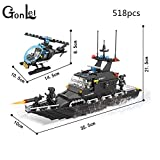 PampasSK Blocks - HSANHE 6511 Police Station SWAT Escort Boat Military Series Soldiers 3D Model Building Blocks City Boy Toy Hobbies Gift 1 PCs