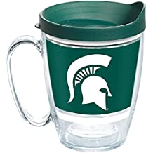 Tervis 1257486 Michigan State Spartans Legend Insulated Tumbler with Wrap and Hunter Green Lid, 16oz Mug, Clear