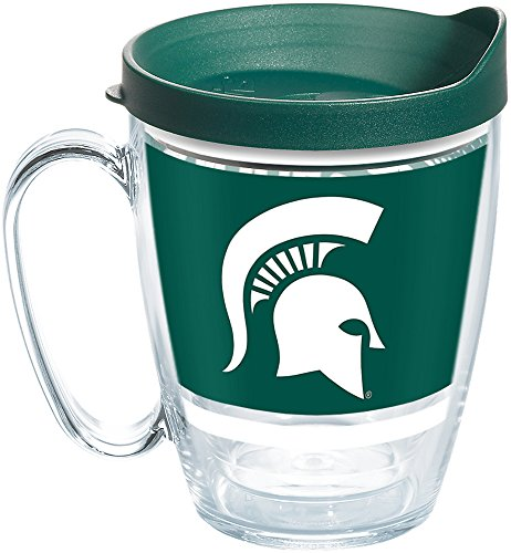 Michigan State Spartans Coffee Mug - Tervis 1257486 Michigan State Spartans Legend Coffee Mug With Lid, 16 oz, Clear