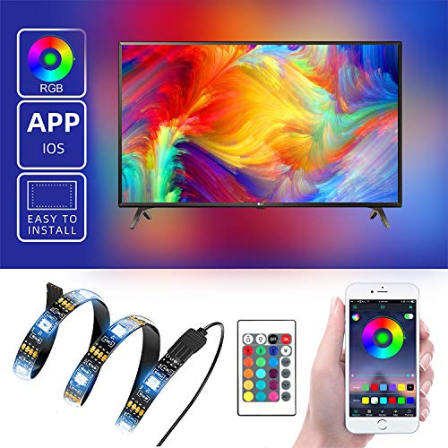 - Led Strip Lights with APP Wireless Smart Phone Control 6.6ft Working with iOS System,USB Powered Led TV Backlight for HDTV Sync Switch On/Off with TV Dimmable with Remote Control for Room Decoration